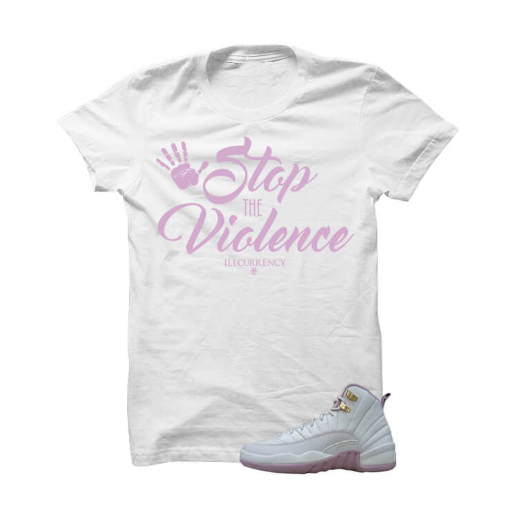 Jordan 12 Gs Heiress Plum Fog White T Shirt (Stop The Violence) - illCurrency Matching T-shirts For Sneakers and Sneaker Release Date News