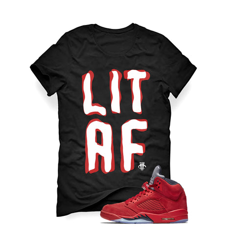 Air Jordan 5 University Red Black T (Lit AF)
