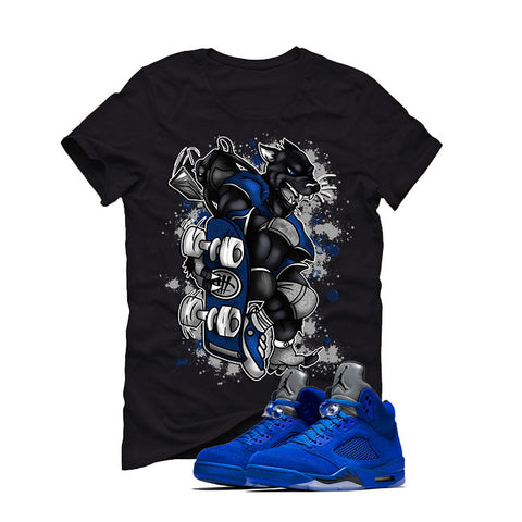 Air Jordan 5 Blue Suede black T (SKATEBOARD CAT)