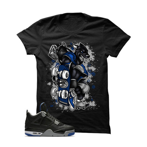 Jordan 4 Game Royal Black T Shirt (Skateboard Cat)