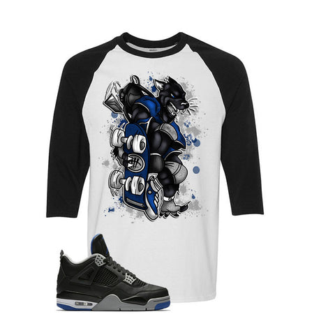 The Jordan 4 Game Royal White and Black Baseball T Shirt (Skateboard Cat)