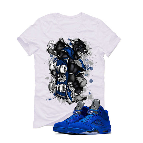 Air Jordan 5 Blue Suede White T (SKATEBOARD CAT)