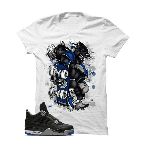 Jordan 4 Game Royal White T Shirt (Skateboard Cat)