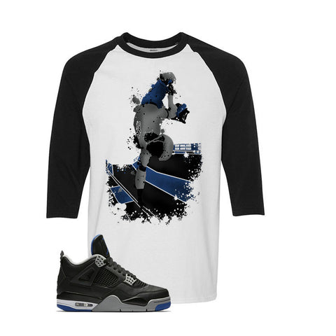 The Jordan 4 Game Royal White and Black Baseball T Shirt (Skateboard)