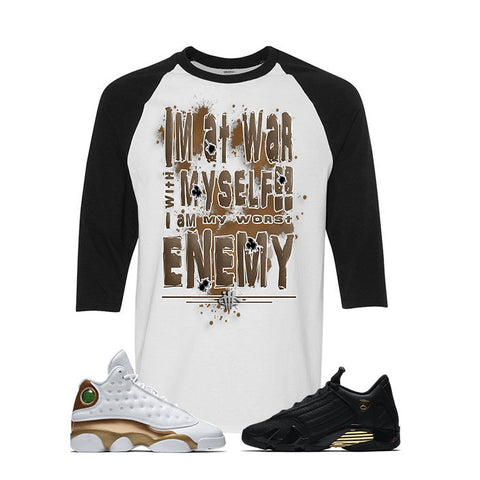 Jordan 13/14 Defining moments pack White And Black Baseball T's (WAR WITH MYSELF)