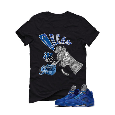 Air Jordan 5 Blue Suede black T (Cream)