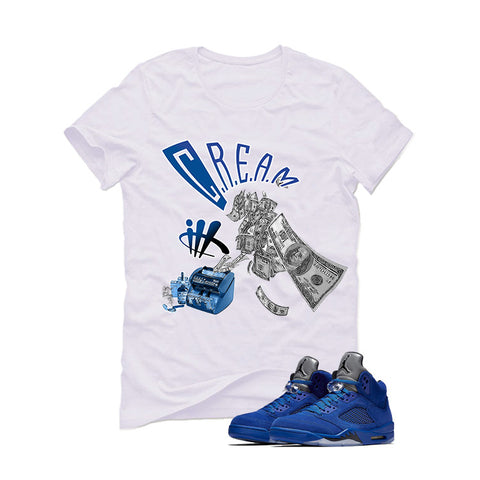 Air Jordan 5 Blue Suede White T (cream)