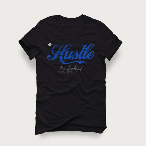 Jordan 4 Game Royal Black T Shirt (Hustle by Any means)
