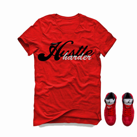 Air Jordan 5 University Red Red T (Hustle Harder)