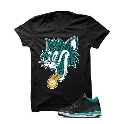 Jordan 3 Gs Black Teal Gold Black T Shirt (See No Evil)