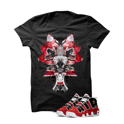 Nike Air More Uptempo Bulls Black T Shirt (Glitch Wolf)