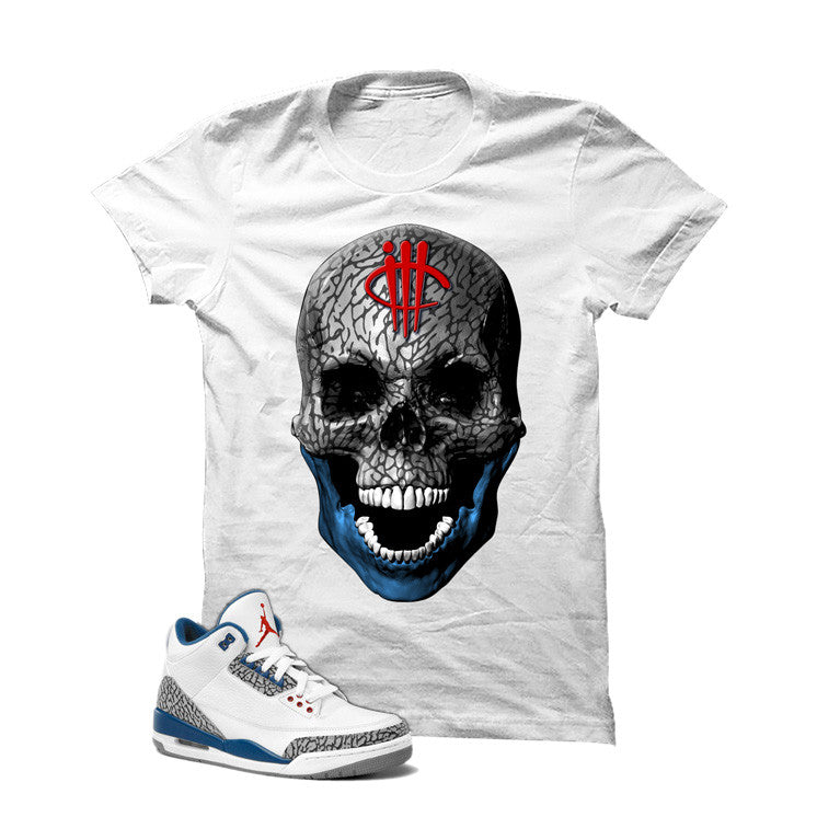 Jordan 3 Og True Blue White T Shirt (Skull Head) - illCurrency Matching T-shirts For Sneakers and Sneaker Release Date News