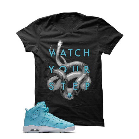 Jordan 6 Gs Still Blue Black T Shirt (Snakes)