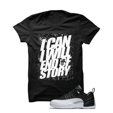 Jordan 12 Low Playoff Black T Shirt (I Can I Will)