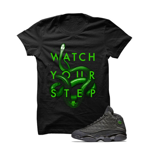 Jordan 13 Black Cat Black T Shirt (Money Cat)