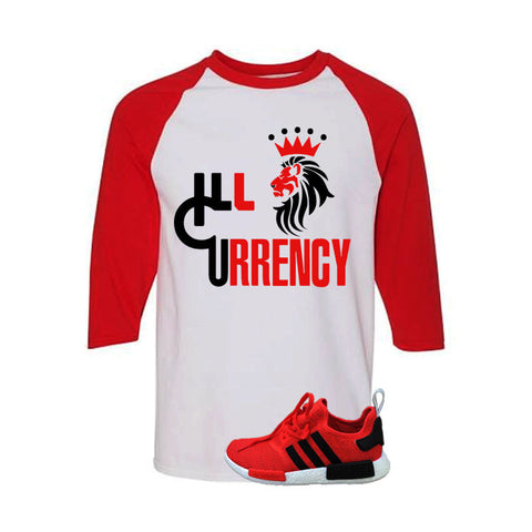 Adidas NMD R1 Red/Black white Red and White Baseball T's (Illcurrency Lion)