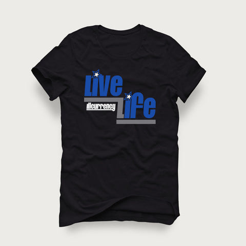 Jordan 4 Game Royal Black T Shirt (Live Life)