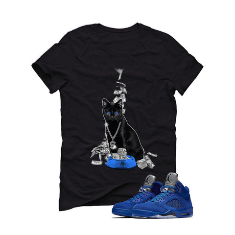 Air Jordan 5 Blue Suede black T (Money cat)