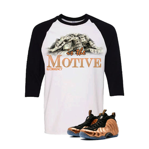 Foamposite One Copper White And Black Baseball T's (money is the motive)