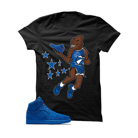 Jordan 1 Retro High Blue Suede White T Shirt (Alien Attack)