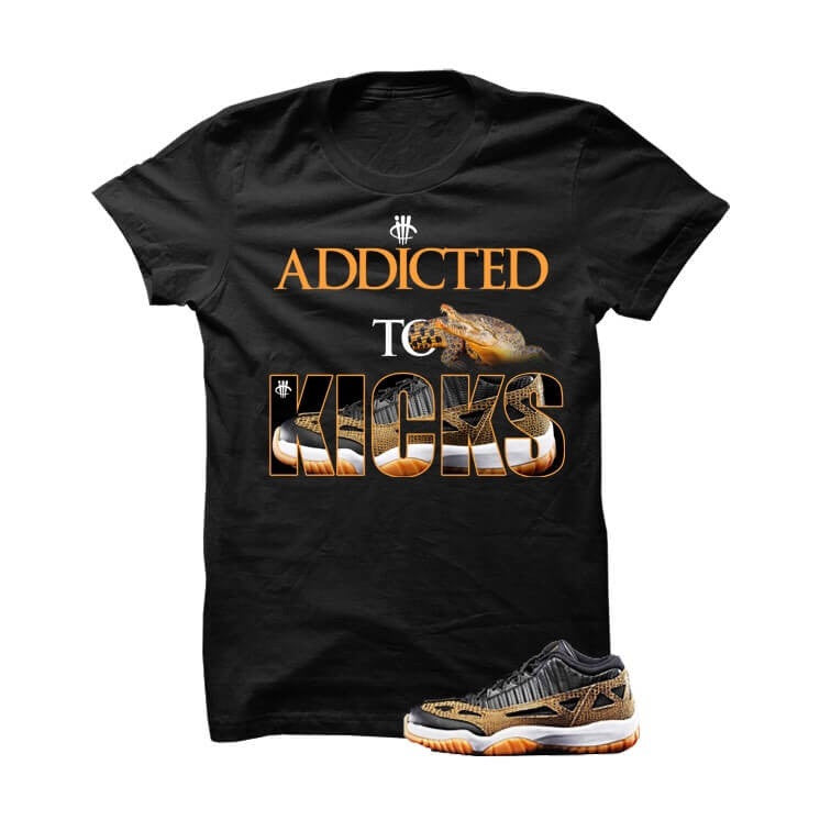 Addicted To Kicks Jordan 11 Low Croc Black T Shirt - illCurrency Matching T-shirts For Sneakers, Jordan's and foamposites