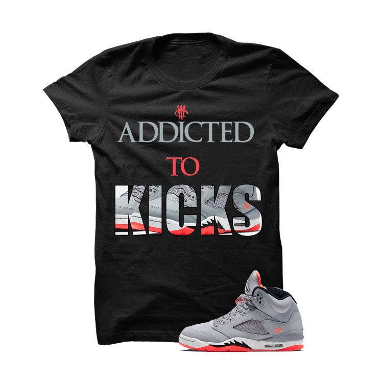 Addicted To Kicks Lava 5s Black T Shirt - illCurrency Matching T-shirts For Sneakers, Jordan's and foamposites