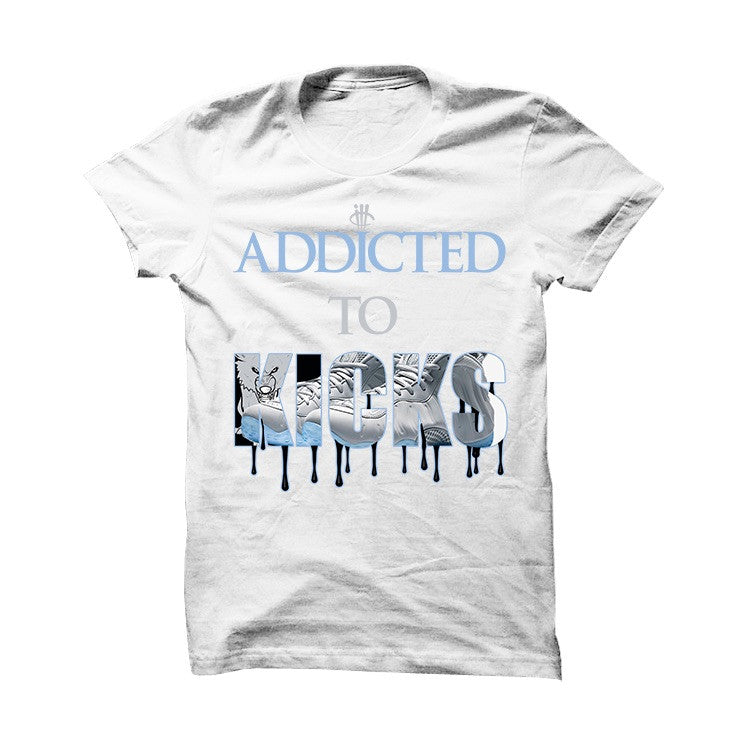 Addicted To Kicks Wolf Grey Foams White T Shirt - illCurrency Matching T-shirts For Sneakers, Jordan's and foamposites