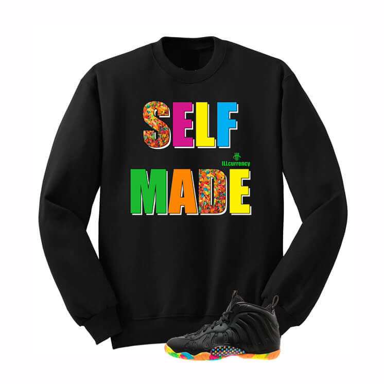 Fruity Pebble Foams Black Sweatshirt (Self Made) - illCurrency Matching T-shirts For Sneakers, Jordan's and foamposites