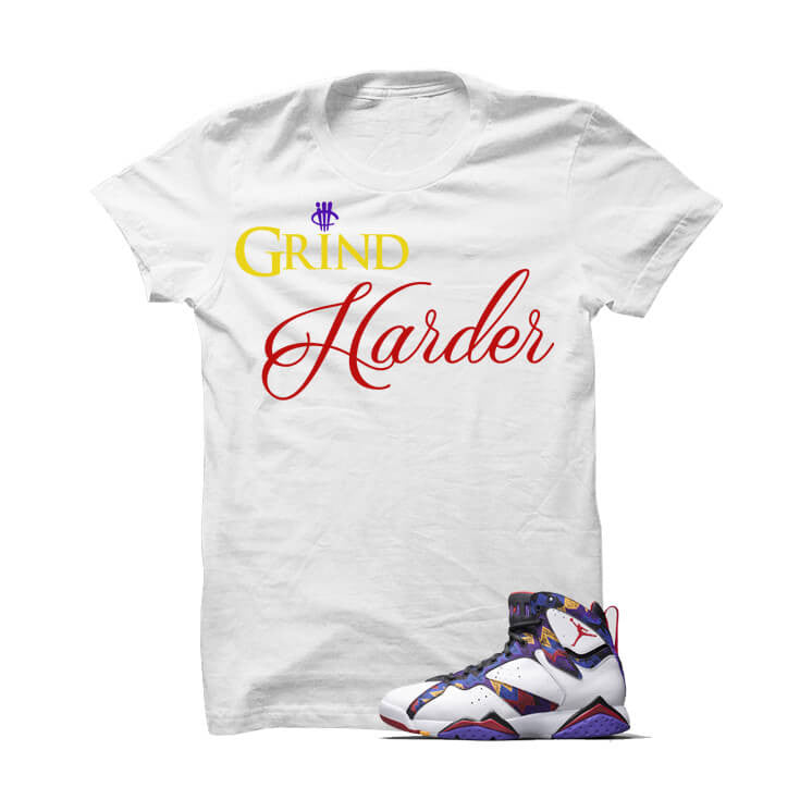 Grind Harder Nothin But Net 7s White T Shirt - illCurrency Matching T-shirts For Sneakers, Jordan's and foamposites