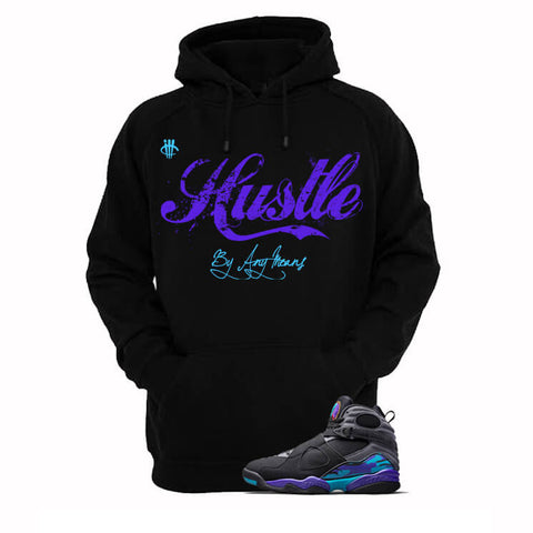 Hustle By Any Means Aqua 8s Black Hoody
