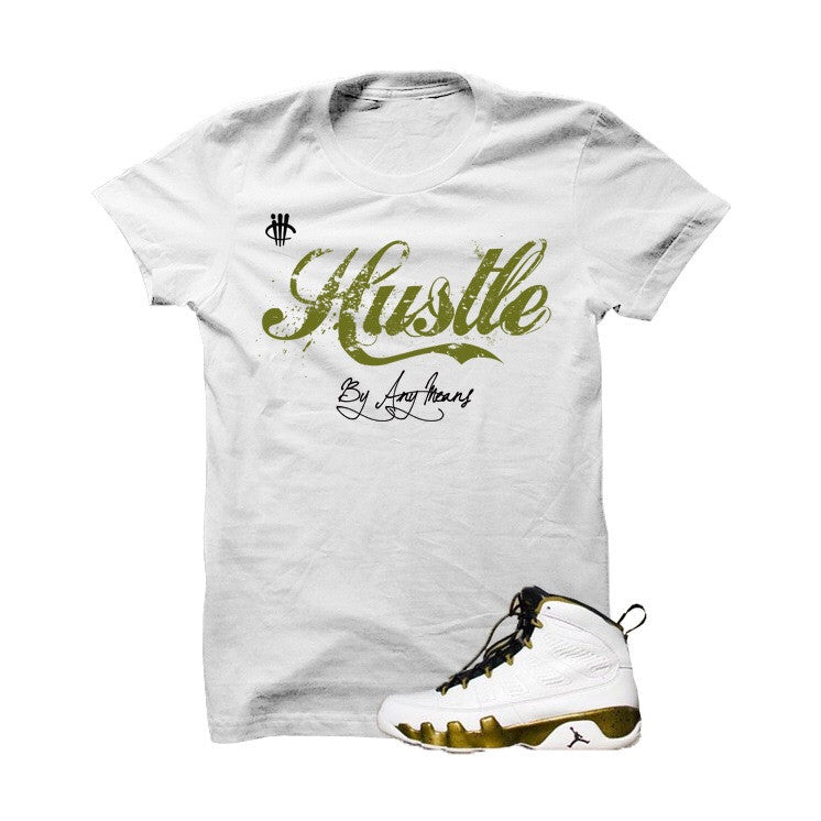 Hustle By Any Means Militia Green White T Shirt - illCurrency Matching T-shirts For Sneakers, Jordan's and foamposites