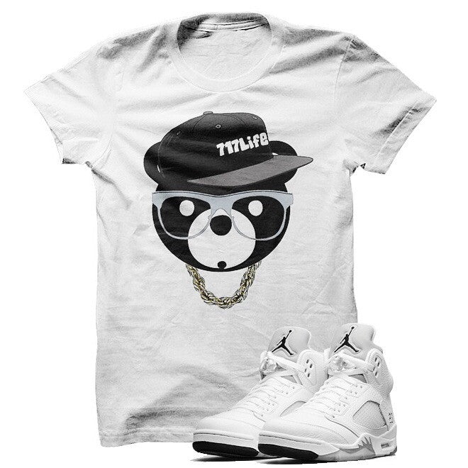ill Bear Metallic Silver 5s White T Shirt - illCurrency Matching T-shirts For Sneakers, Jordan's and foamposites