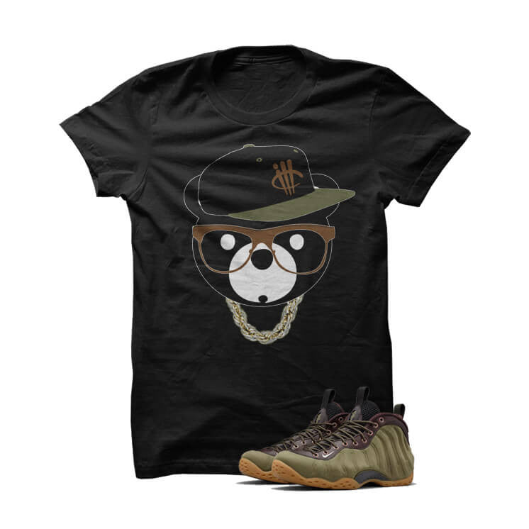ill Bear Olive Foams Black T Shirt - illCurrency Matching T-shirts For Sneakers, Jordan's and foamposites