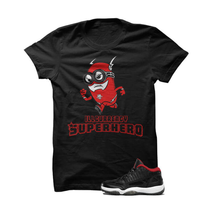 illcurrency Superhero True Red Jordan 11 Black T Shirt - illCurrency Matching T-shirts For Sneakers, Jordan's and foamposites