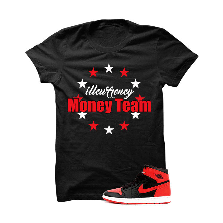 Jordan 1 High OG Banned Black T Shirt (Money Team) - illCurrency Matching T-shirts For Sneakers and Sneaker Release Date News