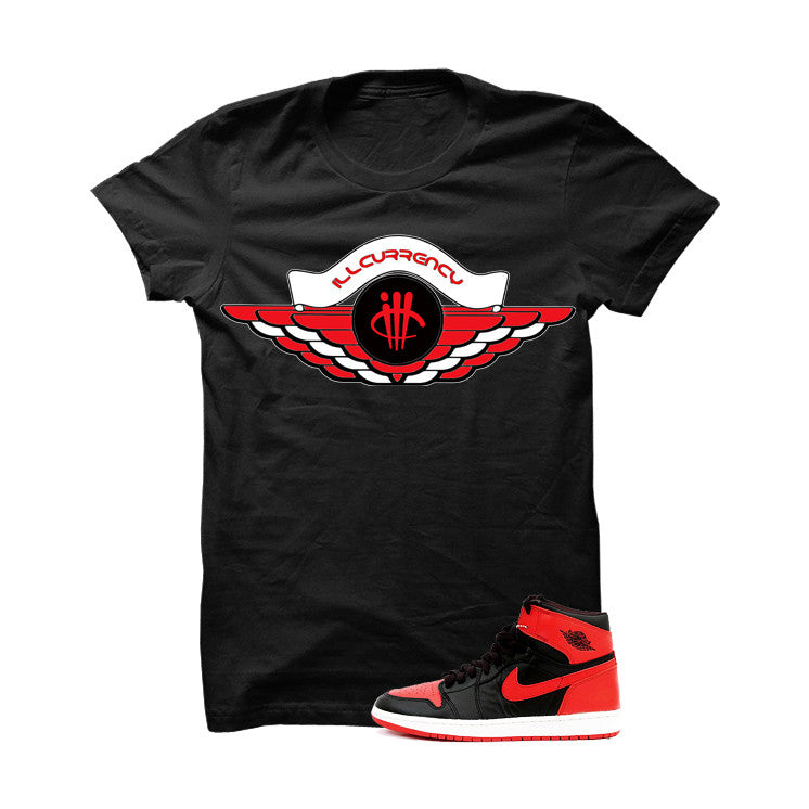 Jordan 1 High OG Banned Black T Shirt (Retro Logo) - illCurrency Matching T-shirts For Sneakers and Sneaker Release Date News