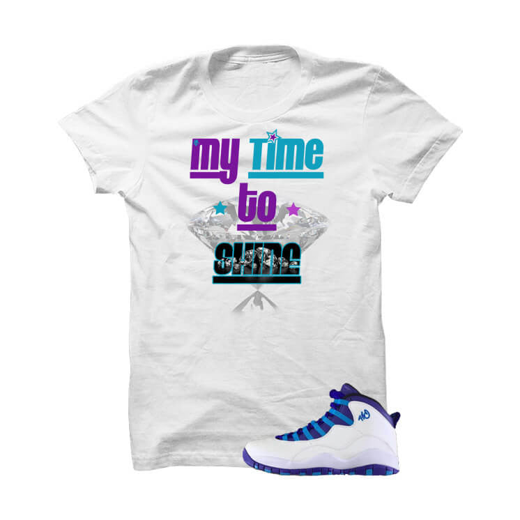 Shirt - Jordan 10 Charlotte White T Shirt (My Time To Shine)