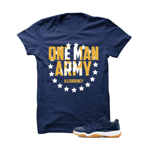 Jordan 11 Low Midnight Navy Gum Navy Blue T Shirt (Money Is The Motive)