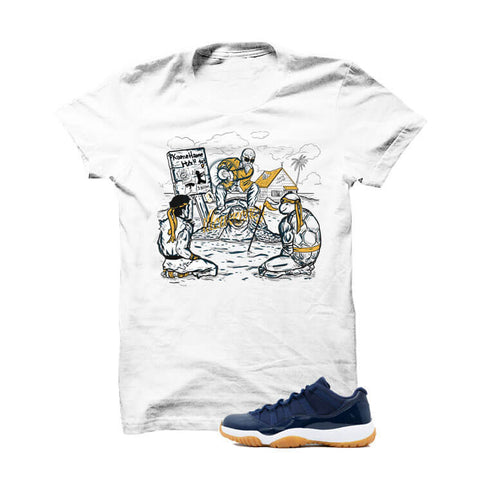 Jordan 11 Low Midnight Navy Gum Navy Blue T Shirt (Live Laugh Love Hustle)
