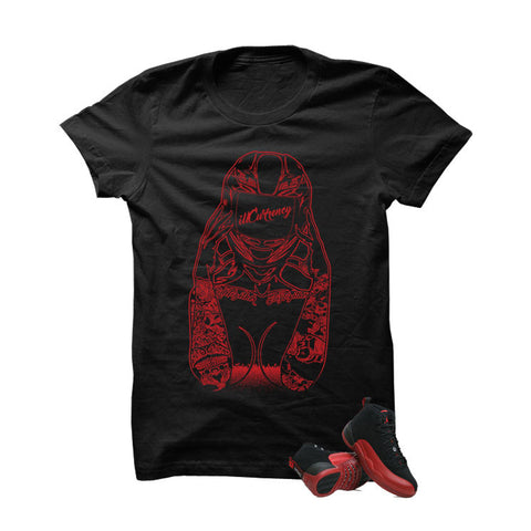 Jordan 12 Flu Game Black T Shirt (Biker Girl)