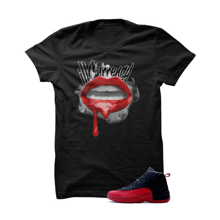 Jordan 12 Flu Game Black T Shirt (Drip Lips) - illCurrency Matching T-shirts For Sneakers, Jordan's and foamposites