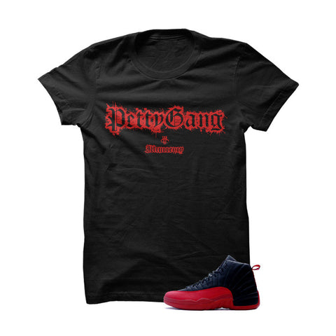 Jordan 12 Flu Game Black T Shirt (Petty Gang)