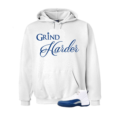 Jordan 12 French Blue White Hoodie (Grind Harder)