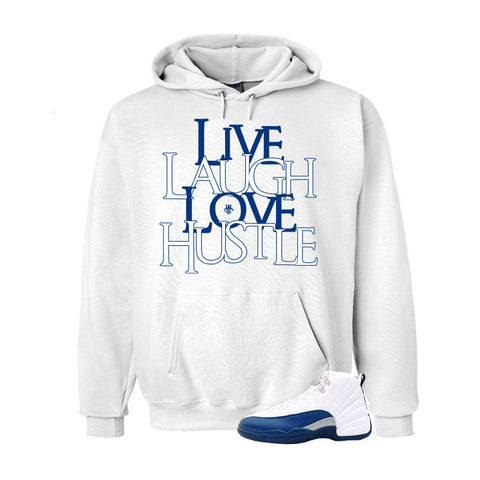 Jordan 12 French Blue White Hoodie (Love Hustle)