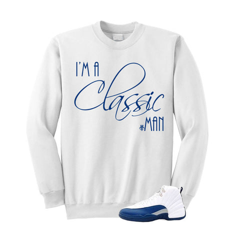 Jordan 12 French Blue White Sweatshirt (Classic Man)