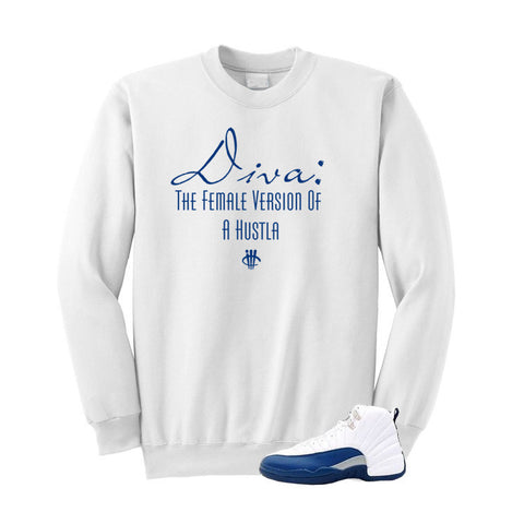 Jordan 12 French Blue White Sweatshirt (Diva)