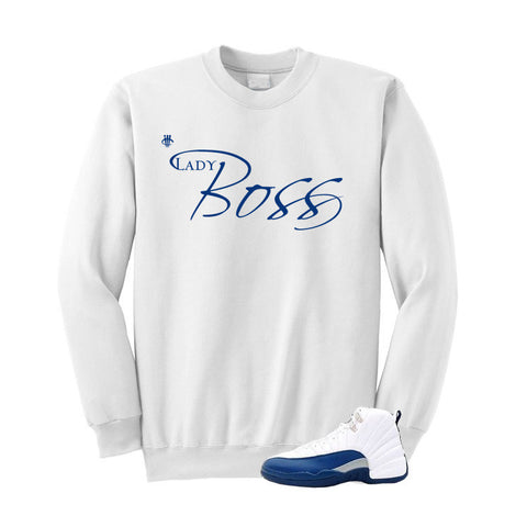Jordan 12 French Blue White Sweatshirt (Lady Boss)