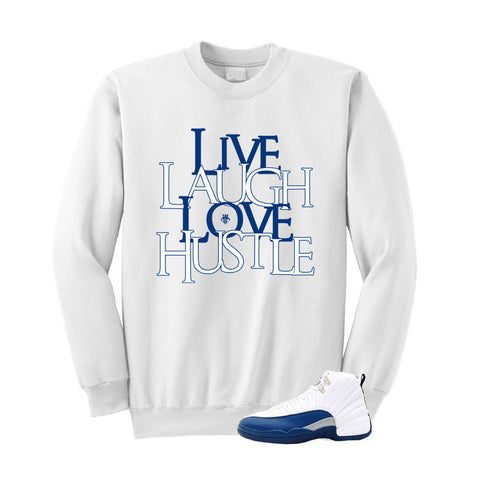 Jordan 12 French Blue White Sweatshirt (Love Hustle)