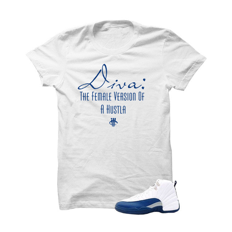 Jordan 12 French Blue White T Shirt (Diva) - illCurrency Matching T-shirts For Sneakers, Jordan's and foamposites