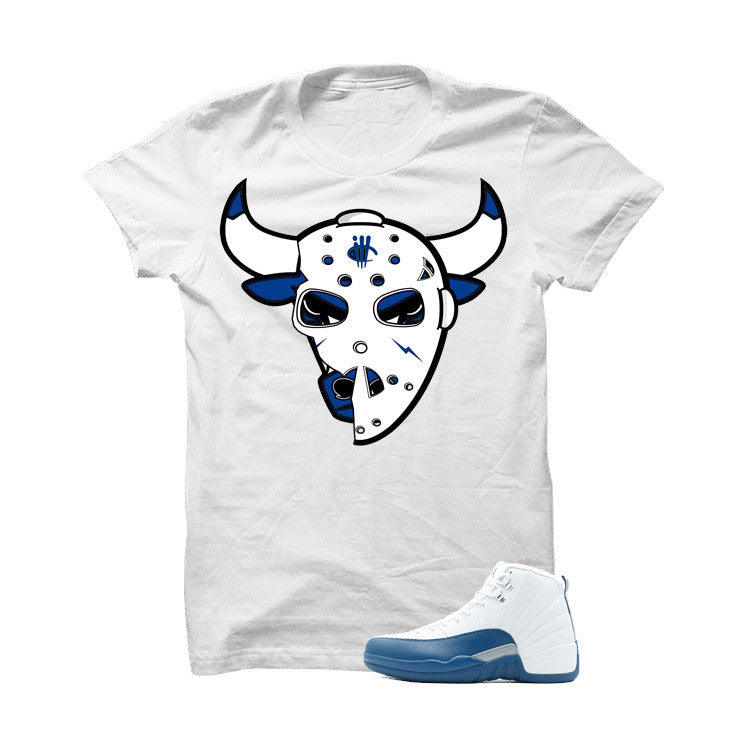 Jordan 12 French Blue White T Shirt (Jason Bulls Head) - illCurrency Matching T-shirts For Sneakers and Sneaker Release Date News